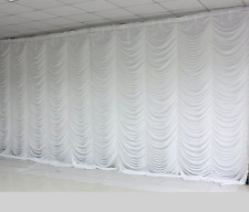 White Wedding Ripple Ice Silk Backdrop Curtan Drapes Event Decoration-6 Sizes