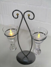 Dekoration Metall Kerzenhalter Teelichthalter Glas Teelicht Tischdeko Deko Tisch