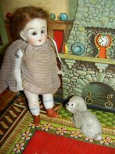 """Adorable, 4 1/2"""" antique German, wire jointed all bisque dollhouse-size doll"""