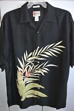 Hilo Hattie  Mens Large  Embroidered Flowers over Print on Black/Mint