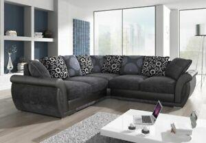 2Sofa - New Shannon 3+2,Large Corner, Armchair, Swivel & Footstool, Black /Grey