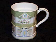 "1992 LENOX VILLAGE Coffee Mug Series ""Cafe"" Porcelain White & Light Green 10 oz"