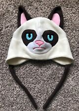Amazing Handmade GRUMPY CAT Winter Hat Cap with Ears and Neck Tie!