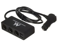 Adaptador triple ladrón + 2 x USB cargador para mechero encendedor coche MCE117