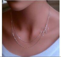 Damen doppel Kette Halskette gold silber Blatt Blätter Leaves Style Blogger Ast