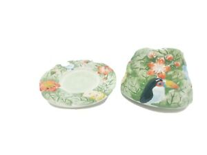 Yankee Candle Jar Shade Topper Plate Tropical Paradise Jungle Toucan Flowers