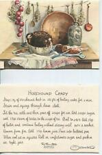 VINTAGE BAKED BEANS BROWN BREAD HOREHOUND CANDY RECIPE 1 CHRISTMAS SNOWMAN CARD