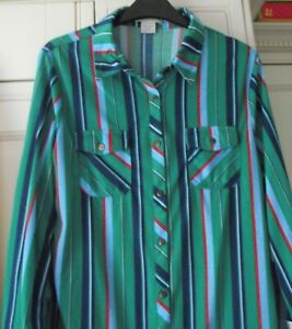 "Passport -  Green striped Shirt / Blouse - Size L. 38/40"" - Brand New Tags"