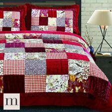 Luxury Cotton Burgundy Red Velvet Quilted Bedspread Set Patchwork Quilt Floral