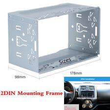Silver Universal 2Din Car Stereo Radio Metal Bracket Dash Fascia Panel Mounting