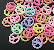 50 Mixed Pastel Colors Peace Sign Acrylic Beads spacer 16mm