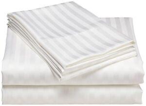 1000 TC White Striped RV Camper & Bunk Sheet Set All Sizes Egyptian Cotton