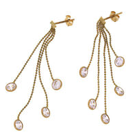 Designer Jewelry 14K Yellow Gold White Colored Stone Drop Dangle Stud Earrings
