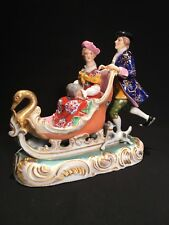 Meissen type porcelain figure group, 19th century, couple with dog