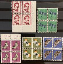 Série PRO JUVENTUTE 1951 : Blocs de 4 MNH** , Mi 561-565, Cote 44€