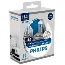 H4 PHILIPS White Vision 3700K Light Bulbs Headlamp Globes + 2Free W5W 12342WHVSM