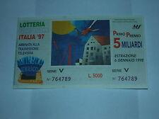 BIGLIETTO LOTTERIA ITALIA 1997 SENZA TAGLIANDO