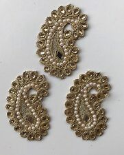 ATTRACTIVE GOLD SMALL PAISLEY PEARL MIRROR CRYSTAL APPLIQUÉ/MOTIF-pack of Three