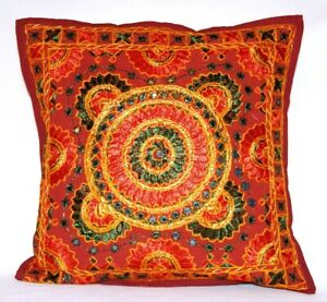 Ethnic Indian embroidered rustic cushion covers - 4 patterns