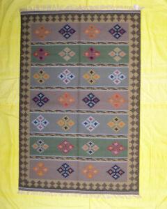 Multi Color Area Rug 5x8 Flat-Weave Living Room Wool Kilim Decorative Dhurrie
