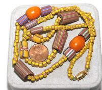 """Vintage Brown Yellow Red African Trade Glass Bead Strand 26"""" Necklace  5L 13"""