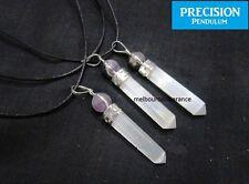 Selenite Point W/ Amethyst Ball Top Crystal Precision Pendulum Pendant Necklace