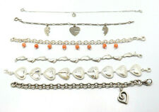 LOT of 6 Sterling Silver Charm Bracelets, Hearts, Coral, 72.1g