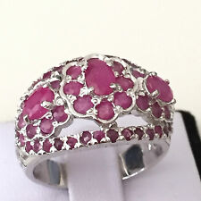 Handmade Ring Real Genuine Natural Ruby 925 Silver Flower Ring Size 8.75 9 gram