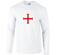 Red Knights Templar Cross White T-Shirt Christian Solomon  Long Sleeve Shirt