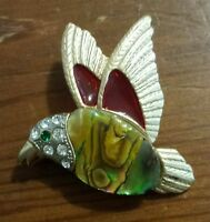Vintage Gold Tone Red Marbled Green Enamel Jeweled Bird Figural Pin Brooch