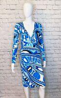 EMILIO PUCCI Vintage Long Sleeve Blue Silk Jersey Sheath Dress