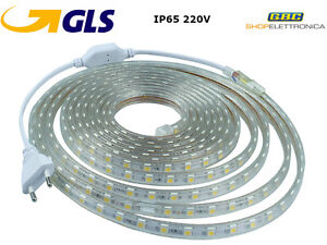 STRISCIA STRIP LED BOBINA SMD 5050 IP65 SPINA 220V BIANCA TUBO ESTERNO 1 A 100 M