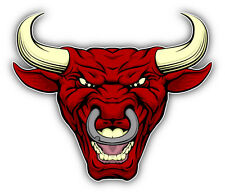 Angry Red Bull Head Mascot Car Bumper Sticker Decal 5'' x 4''