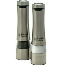 NEW Russell Hobbs Salt & Pepper Mills Stainless Steel Automatic Housewarming Set