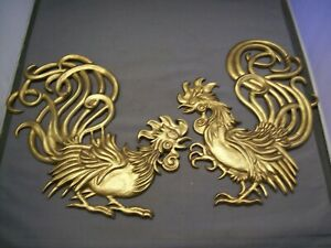 Vintage Vermay Cast Aluminum Fighting Cocks  Rooster Wall Hangings
