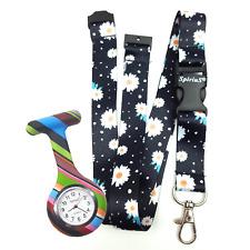 SpiriuS Fob Nurse Silicone Pocket Watch + Daisies in Black Neck strap Lanyard rm