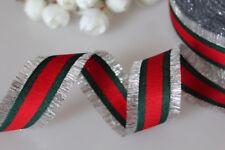 "Christmas Ribbons Silver ,Green Red Stripper Ribbon Trim 1"" 1/2Gucci!"