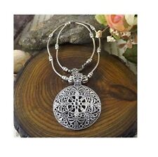 Silver Plated Tibetan Vintage Retro Round Shield Pendant Necklace Hippy Boho