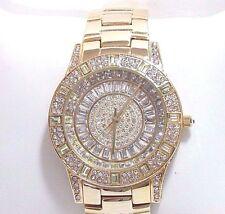 "Victoria Wieck ""Glam"" Crystal Baguette Dial Bracelet Watch  Goldtone"