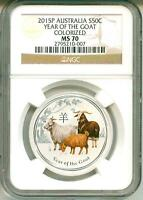 2015 P S50c Australia Lunar Year Of The Goat 1/2 Oz. .999 Colorized NGC MS70