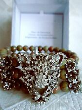 NEW  PANTHER   BRACELET BANGLE BEADED STRETCH STRAP  AUSTRIAN CRYSTALS STUNNING