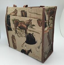 NEW English Horse & Rider Equestrian Tapestry Fabric Handbag Purse Tote  Bag