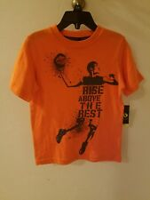 "Xersion Boys Size 4 t-shirt Basketball ""RISE ABOVE THE REST"" Basketball Orange"