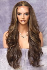 Human Hair Blend Full Lace Front Wig long Beach Wavy Brown mix ws 8/27/613