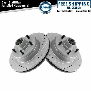 Front Performance Drilled Slotted & Coated Disc Brake Rotor Pair for GM