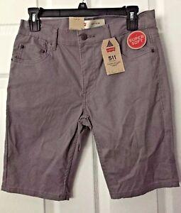 "LEVI'S BOYS 511 SLIM SHORTS.  size 16R   28X 9.5"" .Gray  NWT"