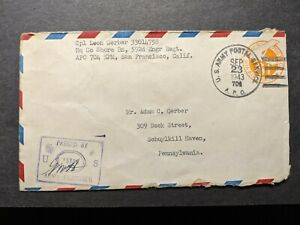 APO 704 CAIRNS, AUSTRALIA 1943 Censored WWII Army Cover 592nd ENGR regt