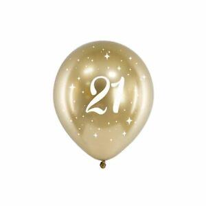 Gold 21st Birthday Balloons | Age Party Venue Decoration Milestone Backdrop x 6