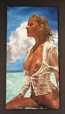 Original Peinture à l'huile: Peinture nu, femme nue plupart Plage. Signé MAUSNER