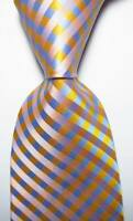 New Classic Checks Yellow Blue Pink JACQUARD WOVEN 100% Silk Men's Tie Necktie